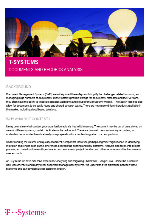 T-Systems – Document and Record Management Systems Analysis